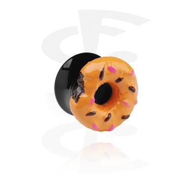 Tunnels & Plugs, Black Flared Plug – 3-D Doughnut, Acrylic