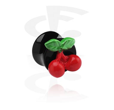 Black Flared Plug with 3D Cherry