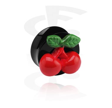 Tunnels & Plugs, Black Flared Plug with 3D Cherry, Acrylic