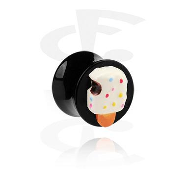 Crni čep s rubovima i 3D sladoledom na štapiću