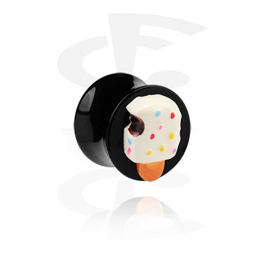 Tunnels & Plugs, Black Flared Plug with 3-D Ice Lolly, Acrylic