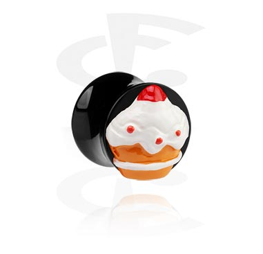 Zwarte flared plug met 3D-cupcake
