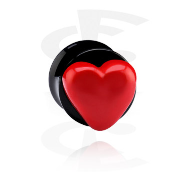 Tunely & plugy, Black Flared Plug with 3D Heart, Acrylic