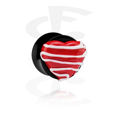 Black Flared Plug with 3D Heart
