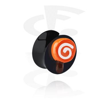 Tunnels & Plugs, Black Flared Plug with 3D Lollipop, Acrylic