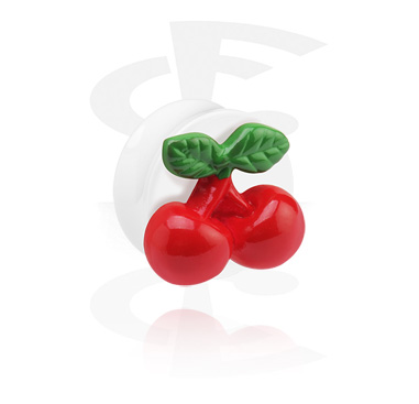 Tunnels & Plugs, White Flared Plug with 3D Cherry, Acrylic
