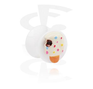 Weißer Flared Plug mit 3D Eis
