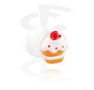 Tunnels & Plugs, White Flared Plug with 3D Cupcake, Acrylic