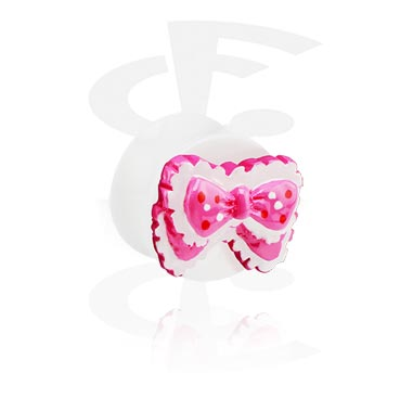 Tunely & plugy, White Flared Plug with 3D Ribbon, Acrylic