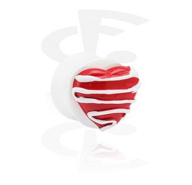 Witte flared plug met 3D-hart