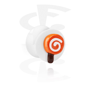 Tunely & plugy, White Flared Plug with 3D Lollipop, Acrylic