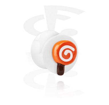 Witte flared plug met 3D-lollipop
