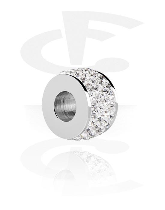Beads, Bead für Bead-Armbänder mit Kristallsteinchen, Chirurgenstahl 316L