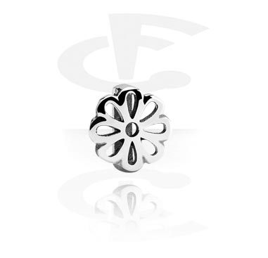 Flatbeads, Flatbead for Flatbead Bracelets with Flower Design, Surgical Steel 316L