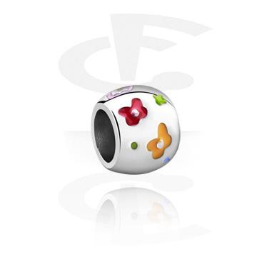 Cuentas, Cuenta para pulsera de cuentas con Diseño flor, Acero quirúrgico 316L