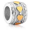 Korálky, Bead for Bead Bracelet s Heart Design, Surgical Steel 316L