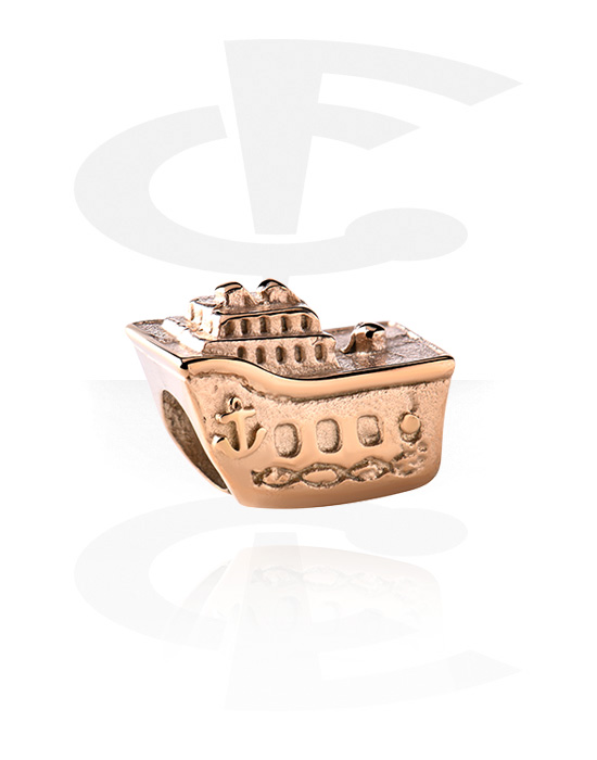 Beads, Bead for Bead Bracelets, Rose Gold Plated Surgical Steel 316L