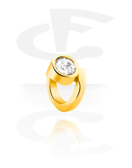 Perler, Bead for Bead Bracelet med crystal stone, Gold Plated Surgical Steel 316L