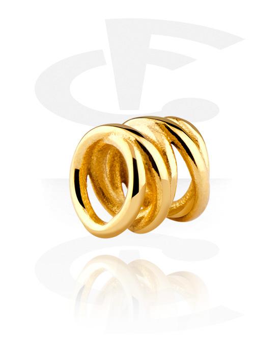 Perline, Perlina per bracciale, Acciaio chirurgico 316L con placcatura in oro