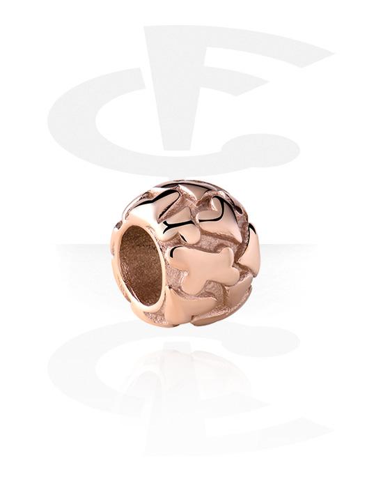 Perline, Perlina per bracciale, Acciaio chirurgico 316L placcato in oro rosa