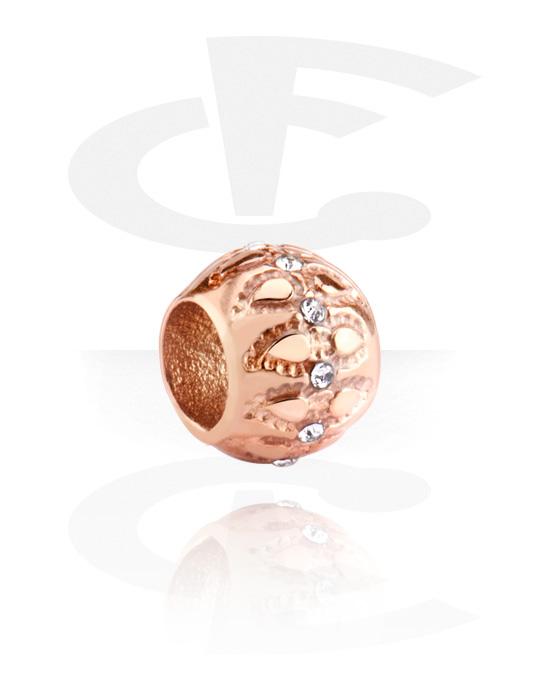 Perline, Perlina per bracciale con brillantino, Acciaio chirurgico 316L placcato in oro rosa