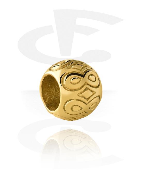 Beads, Bead für Bead-Armbänder, Vergoldeter Chirurgenstahl 316L