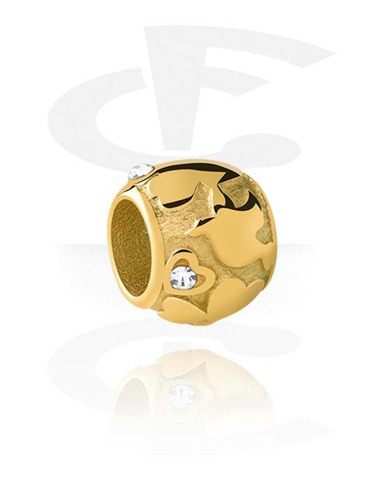 Perline, Perlina per bracciale con brillantino, Acciaio chirurgico 316L con placcatura in oro
