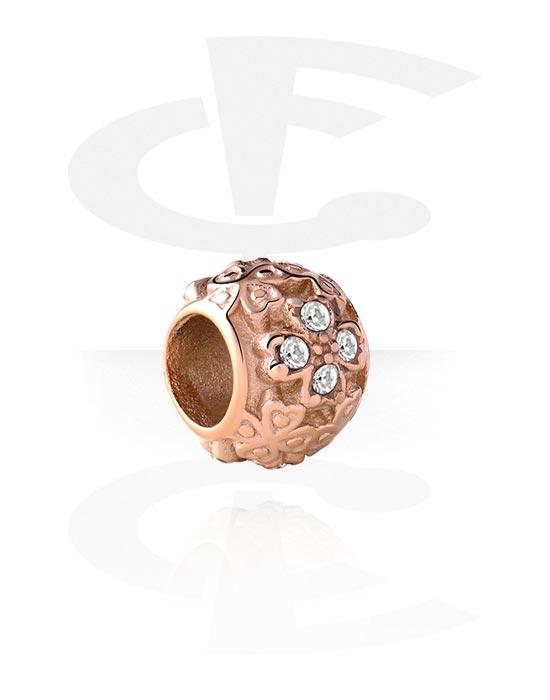 Beads, Bead für Bead-Armbänder mit Kristallsteinchen, Rosé-Vergoldeter Chirurgenstahl 316L