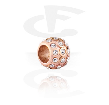 Beads, Bead for Bead Bracelets, Rosegold Plated Surgical Steel 316L ,  Surgical Steel 316L