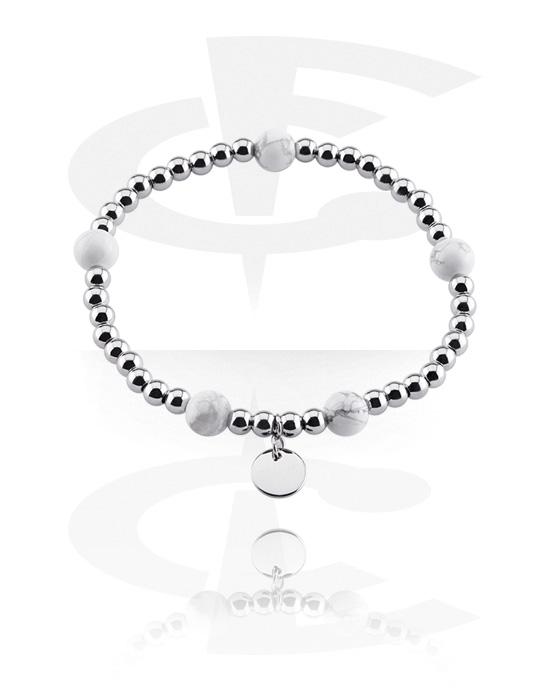 Bracciali, Bracciale in pietra naturale, Turchese bianco, Elastico, Acciaio chirurgico 316L