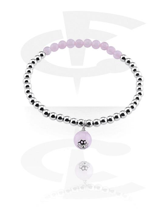 Bracciali, Bracciale in pietra naturale, Quarzo rosa, Elastico