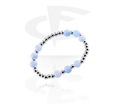Bracelets, Natural Stone Bracelet, Blue Quartz Light, Elastic Band