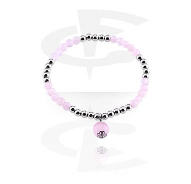 Pulseras, Pulsera de piedra natural, Cuarzo rosa, Goma elástica