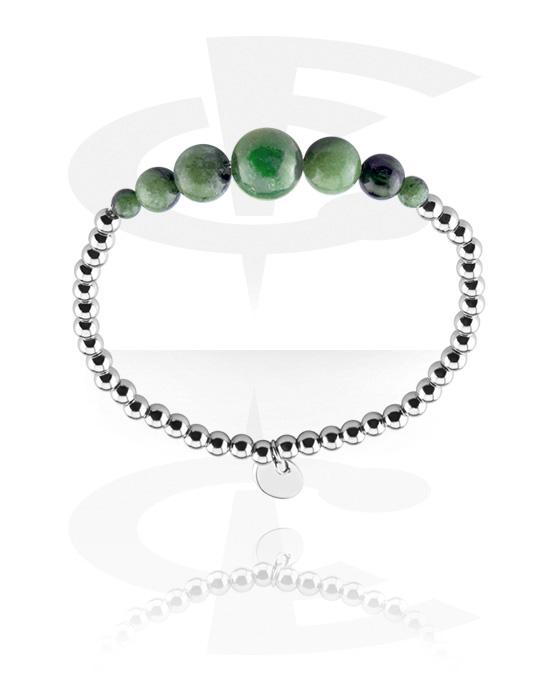 Bracelets, Natural Stone Bracelet, Surgical Steel 316L, Elastic Band