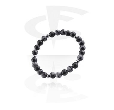 Bracelets, Natural Stone Bracelet, Black Agate, Elastic Band