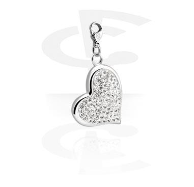Bettelarmbänder, Anhänger mit Herz-Design und Kristallsteinchen, Chirurgenstahl 316L