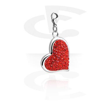 Náramky s přívěšky, Charm s Heart Design a crystal stones, Surgical Steel 316L
