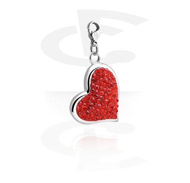 Charms, Charm with Heart Design and Crystal Stones, Surgical Steel 316L