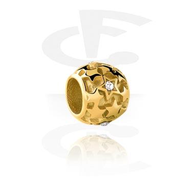 Cuentas, Cuenta para pulsera de cuentas, Acero quirúrgico 316L chapado en oro