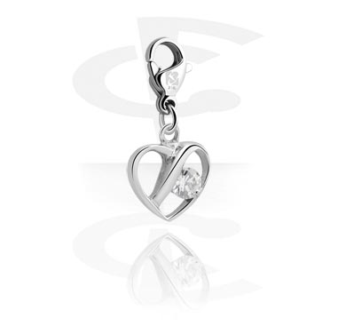 Charms, Charm with Heart Design and Crystal Stone, Surgical Steel 316L