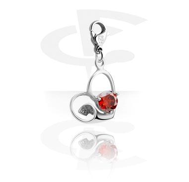 Náramky s přívěšky, Charm s Heart Design a crystal stone, Surgical Steel 316L