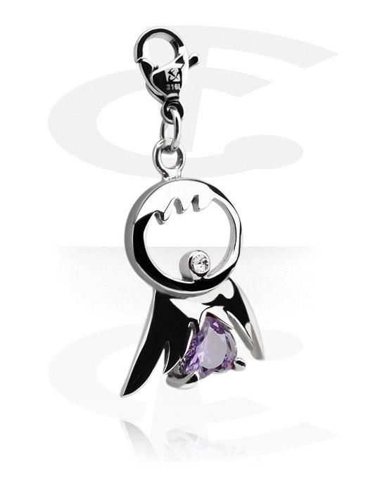 Armbånd med amuletter, Charm med crystal stones, Surgical Steel 316L