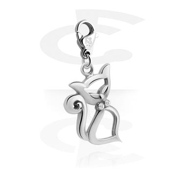 Charms, Charm with Cat Design and Crystal Stones, Surgical Steel 316L