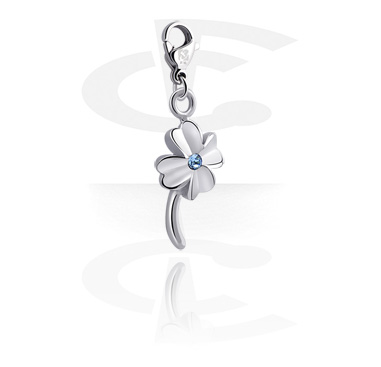 Charms, Charm with Clover Leaf Design and Crystal Stone, Surgical Steel 316L