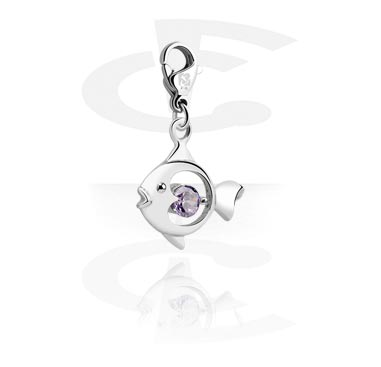 Charms, Charm with Fish Design and Crystal Stone, Surgical Steel 316L