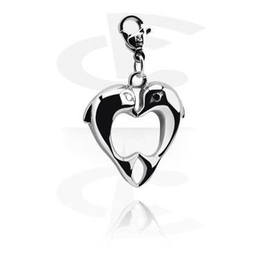 Charms, Charm with Dolphin Design, Surgical Steel 316L