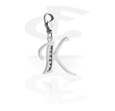 Náramky s přívěšky, Charm s Letter a crystal stones, Surgical Steel 316L