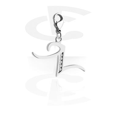 Charms, Charm with Letter and Crystal Stones, Surgical Steel 316L