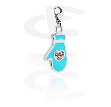Charms, Charm with Glove Design and Crystal Stones, Surgical Steel 316L