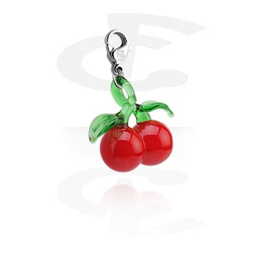 Charms, Charm with Cherry Design, Surgical Steel 316L, Glass